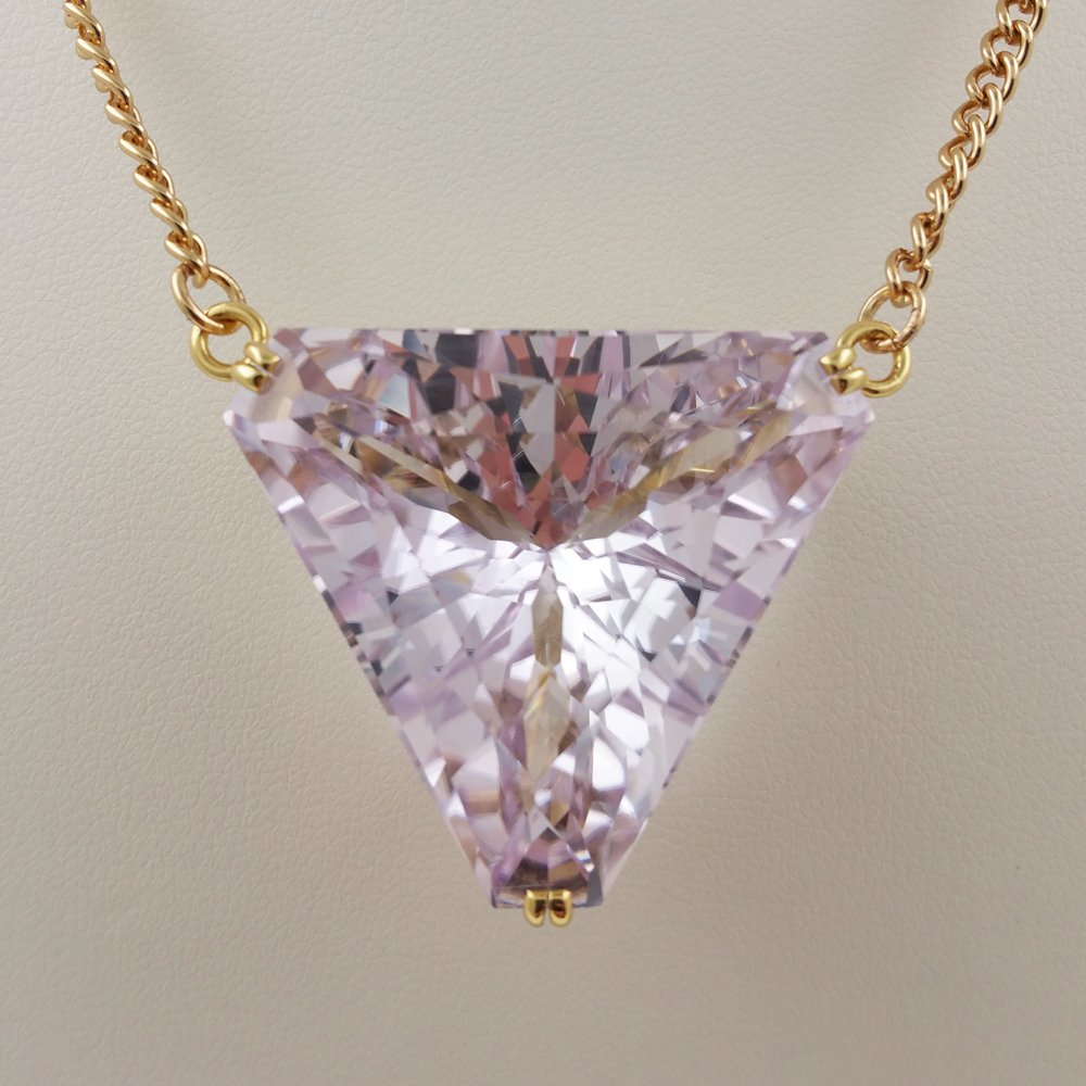 Stone Triangle Of Pink Necklace