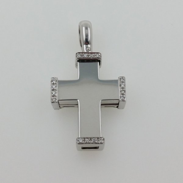 18 k. white gold diamond cross pendant - 0.15 carat
